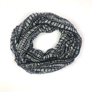 Charming Charlie Silver Foil Black Infinity Scarf